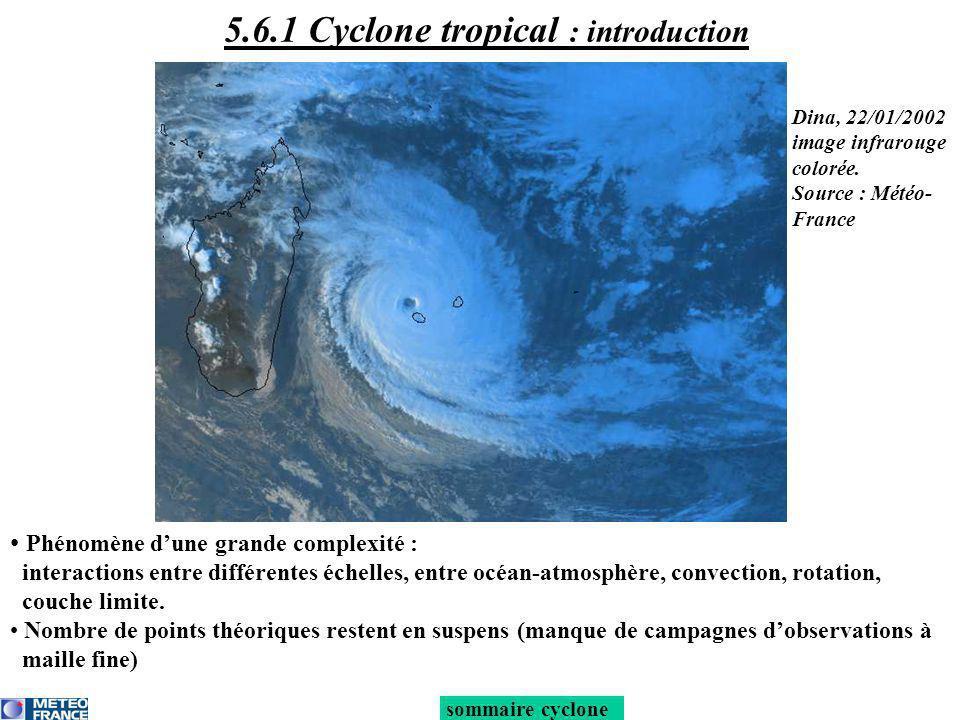 5.6.1 Cyclone tropical : introduction Phénomène dune grande complexité : interactions entre différentes échelles, entre océan-atmosphère, convection,
