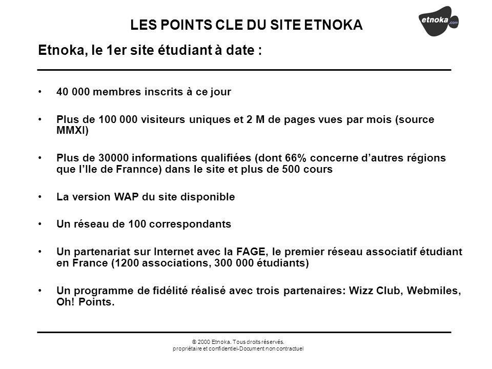 ® 2000 Etnoka. Tous droits réservés. propriétaire et confidentiel-Document non contractuel Etnoka, le 1er site étudiant à date : 40 000 membres inscri