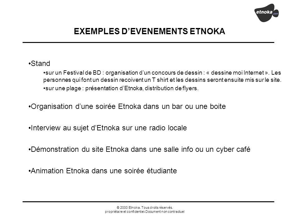 ® 2000 Etnoka. Tous droits réservés. propriétaire et confidentiel-Document non contractuel EXEMPLES DEVENEMENTS ETNOKA Stand sur un Festival de BD : o