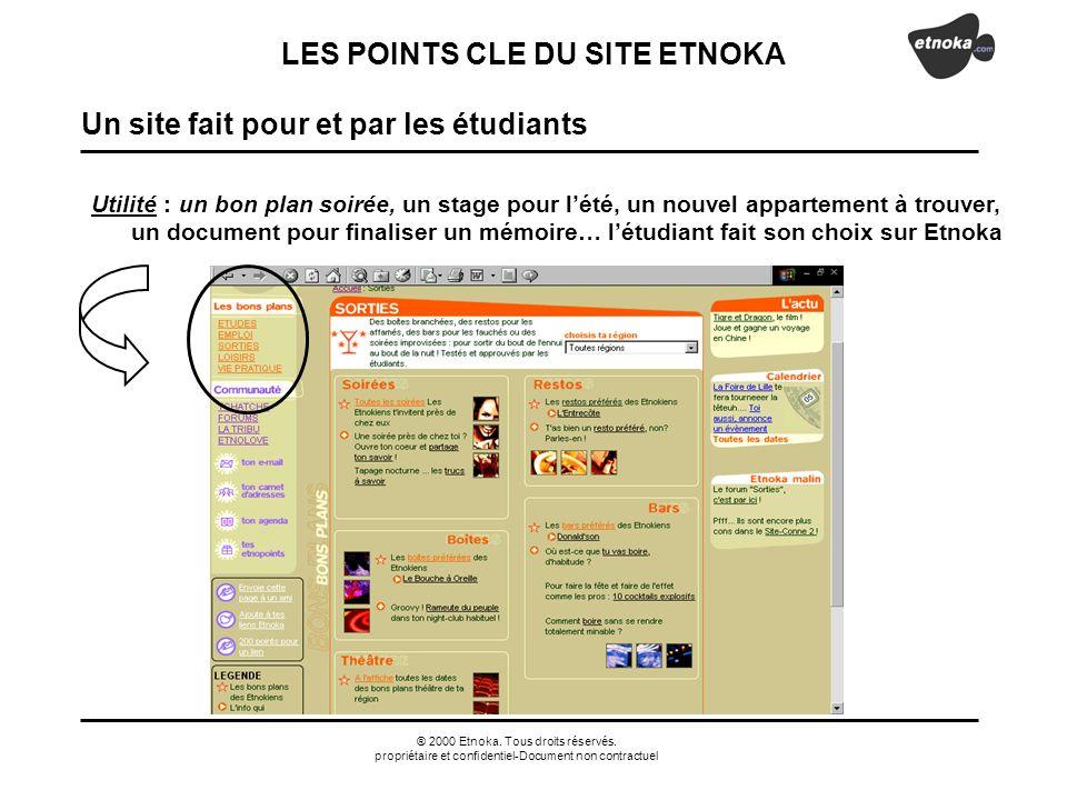 ® 2000 Etnoka. Tous droits réservés. propriétaire et confidentiel-Document non contractuel Utilité : un bon plan soirée, un stage pour lété, un nouvel