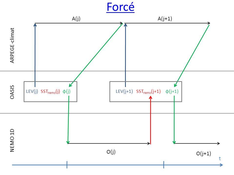 ARPEGE-climat OASIS NEMO 1D O(j) O(j+1) t LEV(j)SST nemo (j)φ(j)LEV(j+1)SST nemo (j+1) φ(j+1) A(j) A(j+1) Forcé