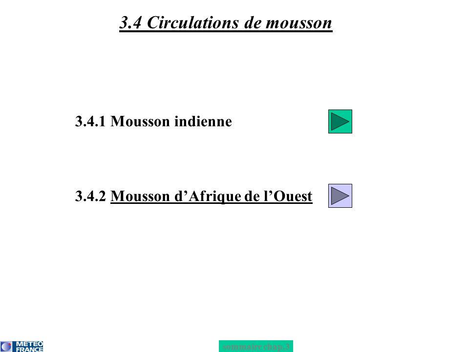 3.4.1 Mousson indienne 3.4.2 Mousson dAfrique de lOuest 3.4 Circulations de mousson sommaire chap.3