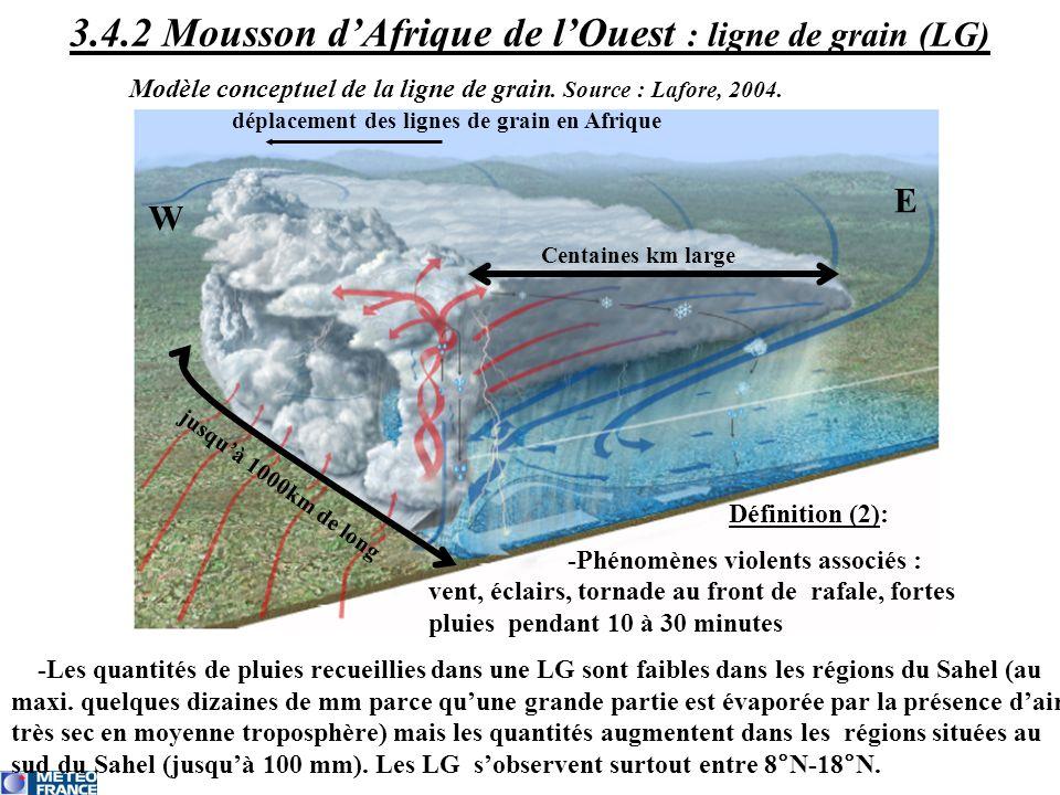 Centaines km large jusquà 1000km de long déplacement des lignes de grain en Afrique W E Définition (2): -Phénomènes violents associés : vent, éclairs,