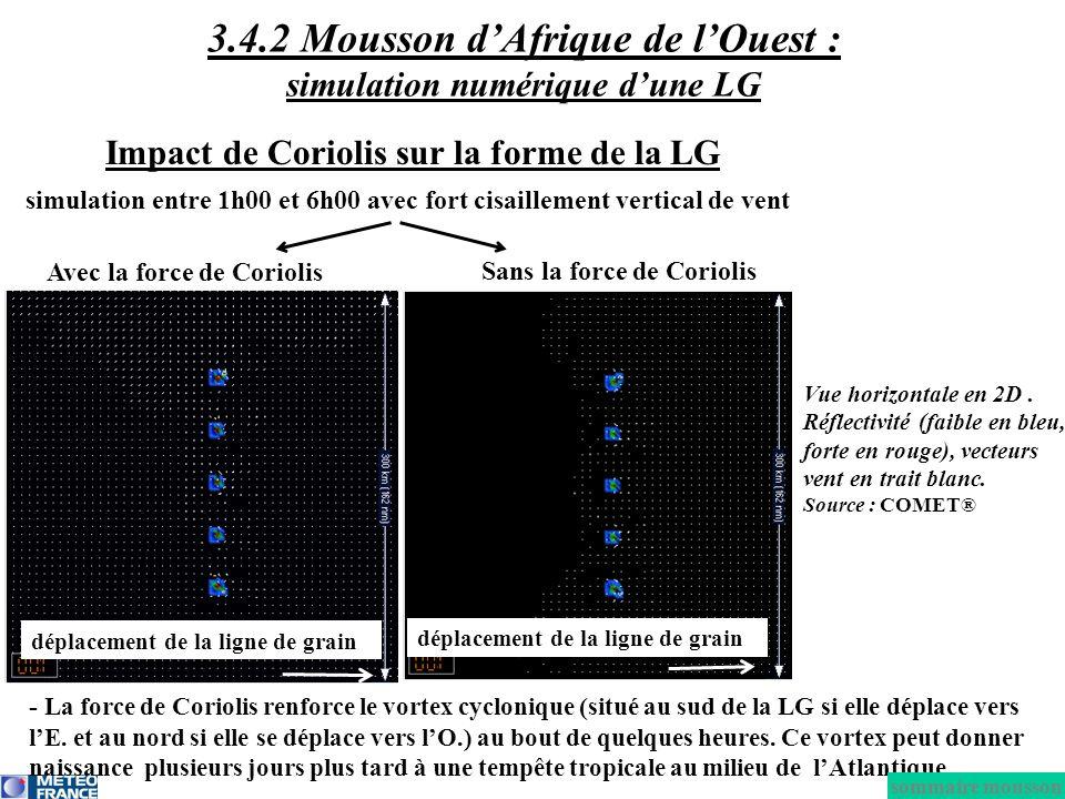 Impact de Coriolis sur la forme de la LG Avec la force de Coriolis Sans la force de Coriolis simulation entre 1h00 et 6h00 avec fort cisaillement vert