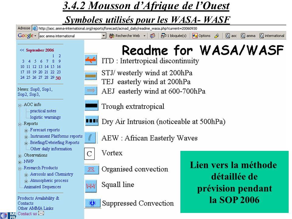3.4.2 Mousson dAfrique de lOuest Symboles utilisés pour les WASA- WASF Lien vers la méthode détaillée de prévision pendant la SOP 2006