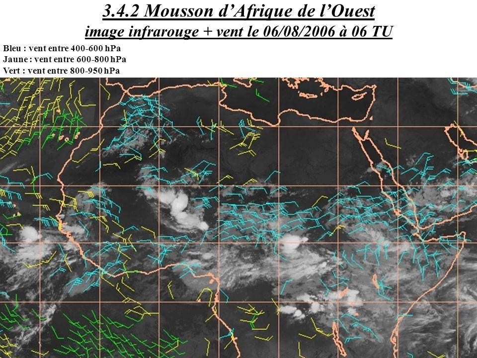Bleu : vent entre 400-600 hPa Jaune : vent entre 600-800 hPa Vert : vent entre 800-950 hPa 3.4.2 Mousson dAfrique de lOuest image infrarouge + vent le