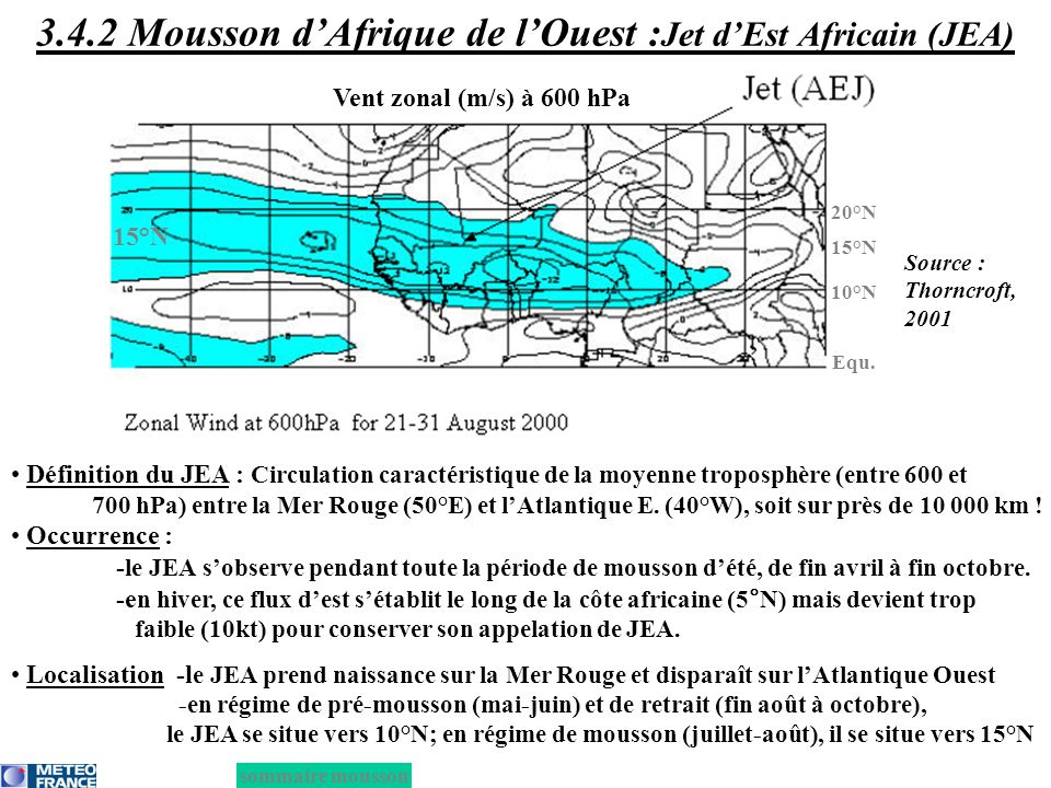 Contribution 9h -10m/s C2 C tot C1: diurnal slow-moving C2: diurnal fast-moving C3: long-lived slow-moving C4: long-lived fast-moving C1 Plateau de Jos Monts Cameroun C1 Reliefs Guinéens C3 C4 3.4.2 MAO : Classification des MCSs africains Source : Piriou et Lafore, 2005