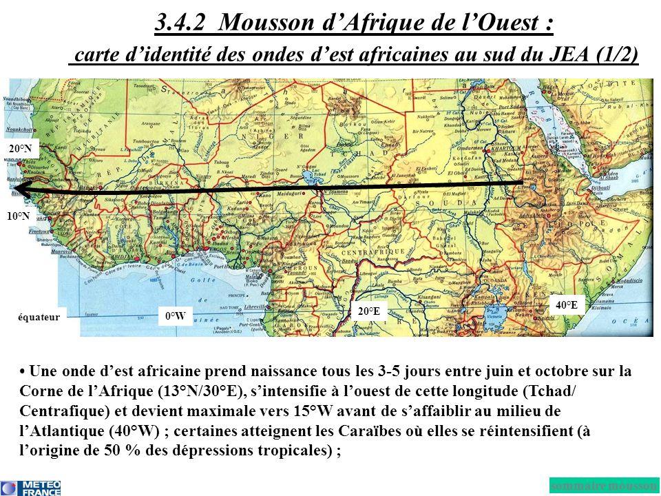 Une onde dest africaine prend naissance tous les 3-5 jours entre juin et octobre sur la Corne de lAfrique (13°N/30°E), sintensifie à louest de cette l