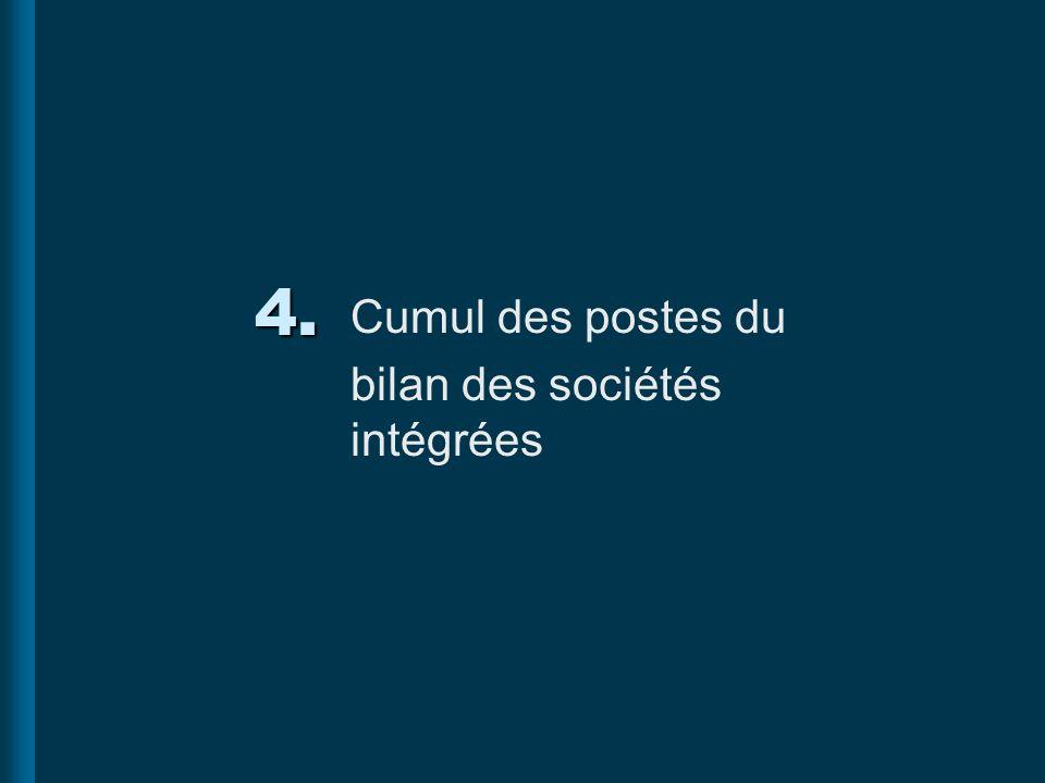 4. Cumul des postes du bilan des sociétés intégrées