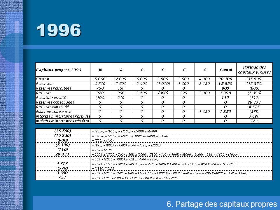 6. Partage des capitaux propres 1996