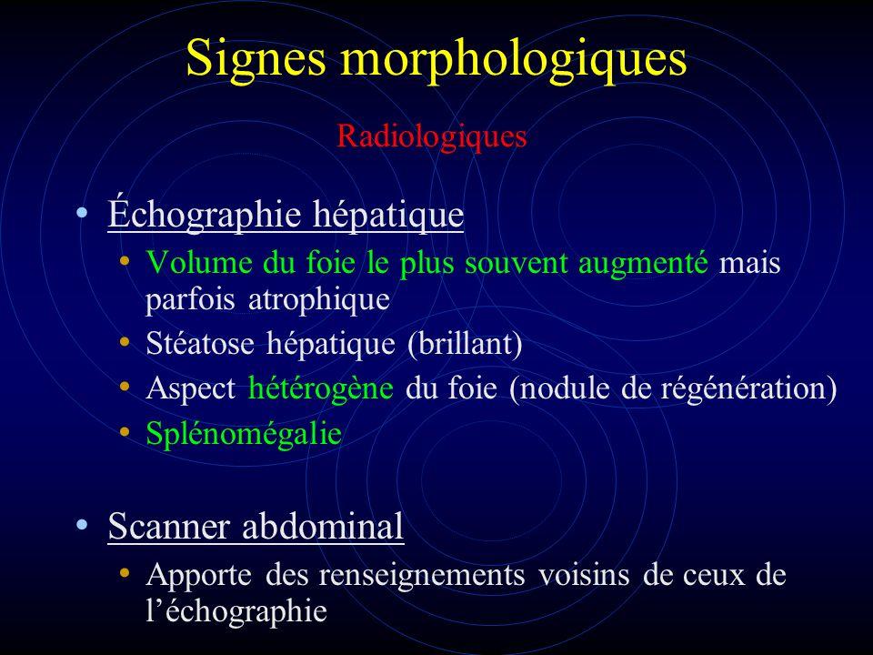Signes morphologiques Échographie hépatique Volume du foie le plus souvent augmenté mais parfois atrophique Stéatose hépatique (brillant) Aspect hétér