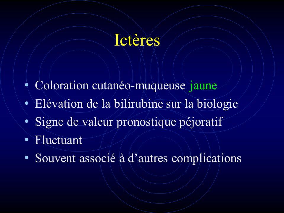 Ictères Coloration cutanéo-muqueuse jaune Elévation de la bilirubine sur la biologie Signe de valeur pronostique péjoratif Fluctuant Souvent associé à