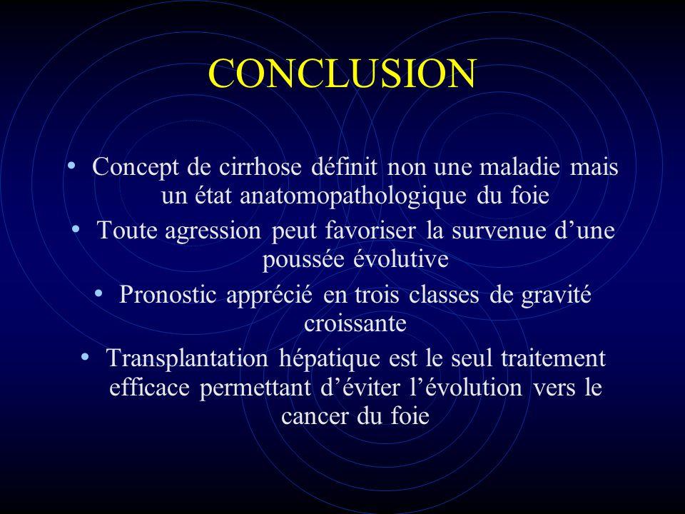 CONCLUSION Concept de cirrhose définit non une maladie mais un état anatomopathologique du foie Toute agression peut favoriser la survenue dune poussé