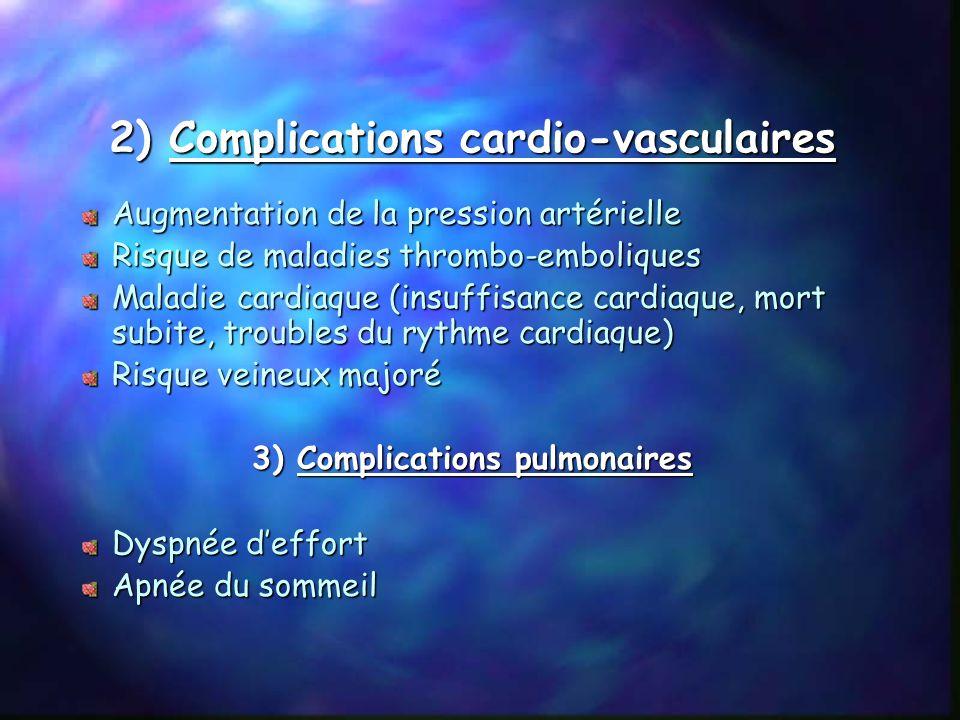 V Répercutions sur lorganisme 1) Les complications générales Handicaps multiples difficultés dans la vie quotidienne. Complications médicales : apnée