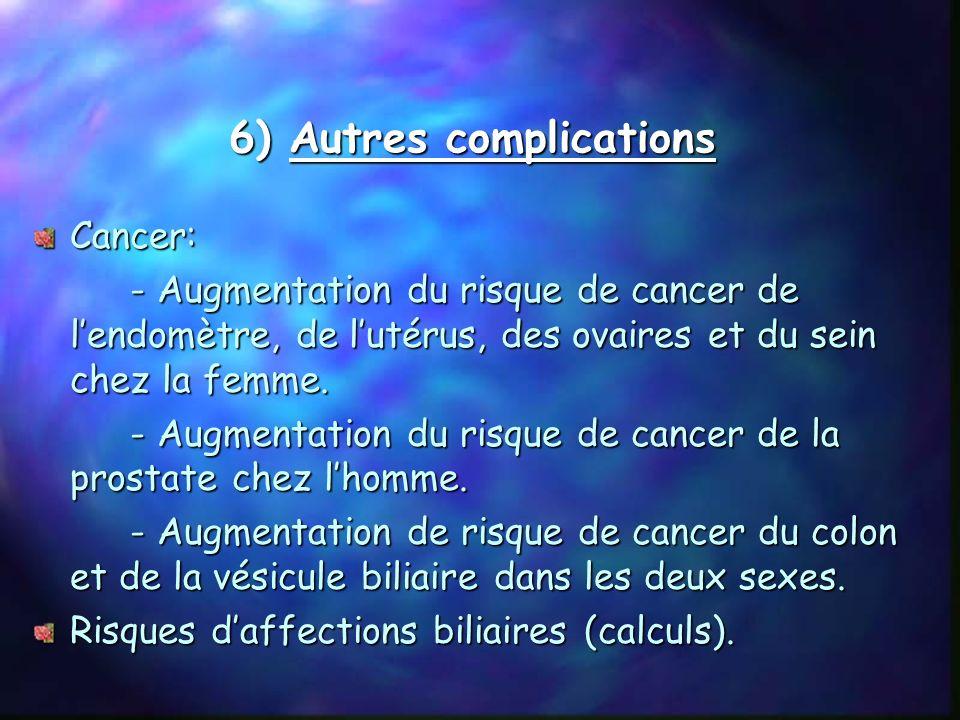 5) Complications ostéo-articulaires Souffrance de toutes les articulations Les genoux, la colonne vertébrale sont les plus touchés Arthrose avec vieil