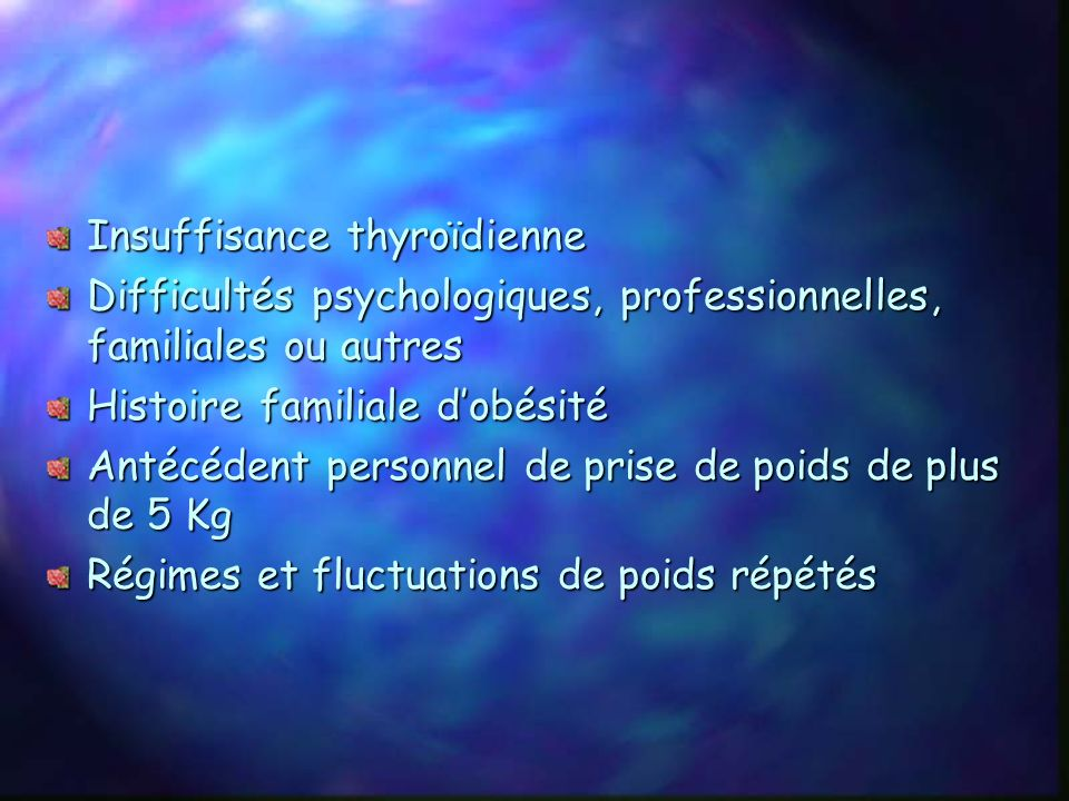 VI Règles alimentaires 1) Situations à risque de prise de poids Arrêt du sport Arrêt du tabac GrossesseMénopause Certains traitements Suite dintervent