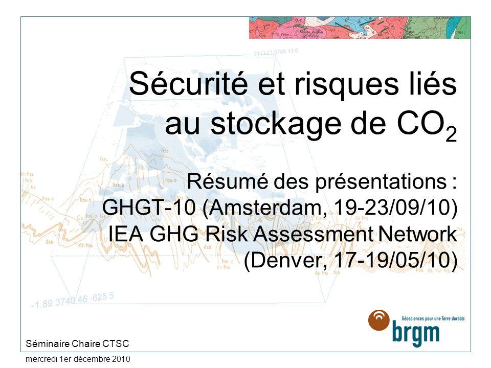 mercredi 1er décembre 2010 Sécurité et risques liés au stockage de CO 2 Résumé des présentations : GHGT-10 (Amsterdam, 19-23/09/10) IEA GHG Risk Asses