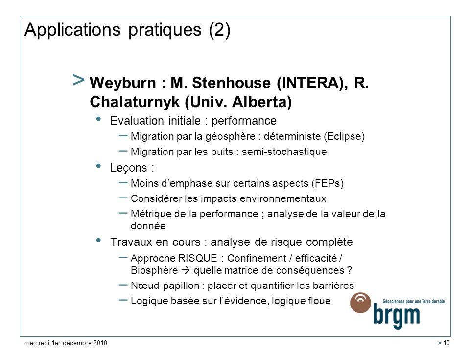 Applications pratiques (2) > Weyburn : M. Stenhouse (INTERA), R. Chalaturnyk (Univ. Alberta) Evaluation initiale : performance – Migration par la géos
