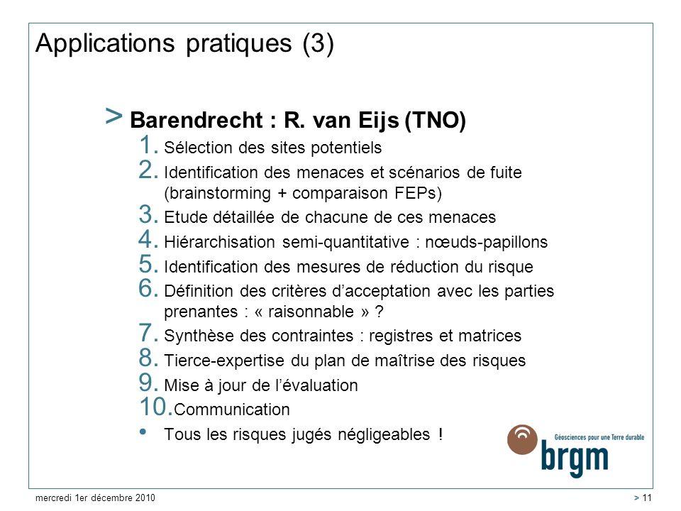 Applications pratiques (3) > Barendrecht : R. van Eijs (TNO) 1. Sélection des sites potentiels 2. Identification des menaces et scénarios de fuite (br