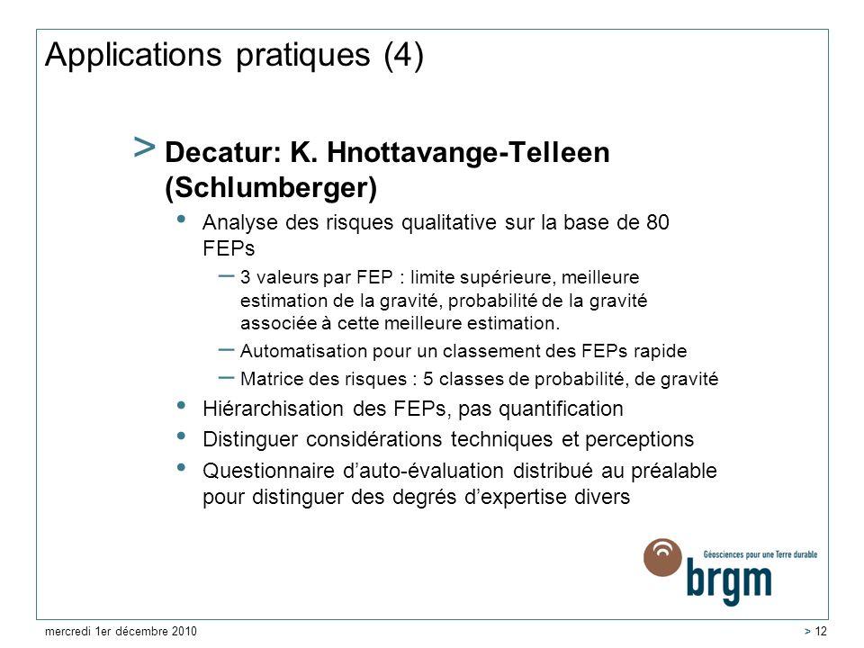 Applications pratiques (4) > Decatur: K. Hnottavange-Telleen (Schlumberger) Analyse des risques qualitative sur la base de 80 FEPs – 3 valeurs par FEP