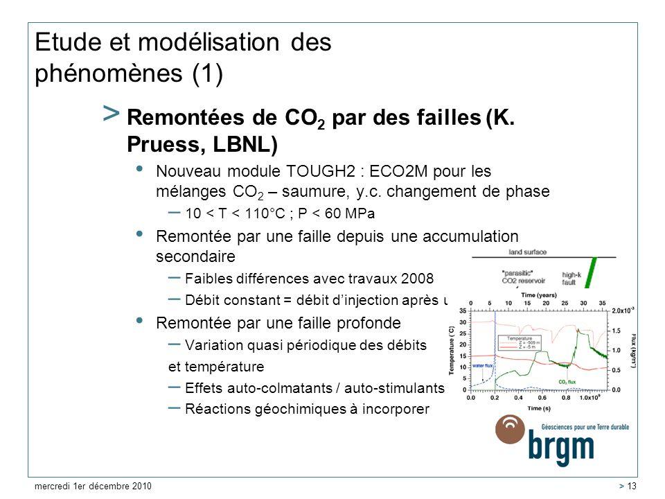Etude et modélisation des phénomènes (1) > Remontées de CO 2 par des failles (K. Pruess, LBNL) Nouveau module TOUGH2 : ECO2M pour les mélanges CO 2 –