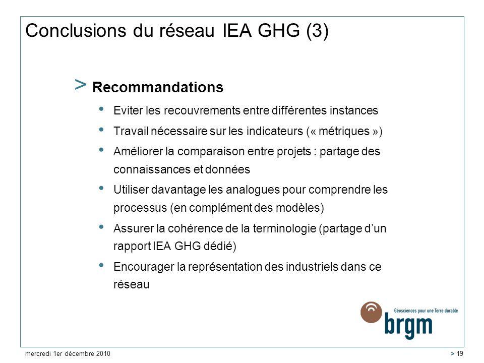 Conclusions du réseau IEA GHG (3) > Recommandations Eviter les recouvrements entre différentes instances Travail nécessaire sur les indicateurs (« mét