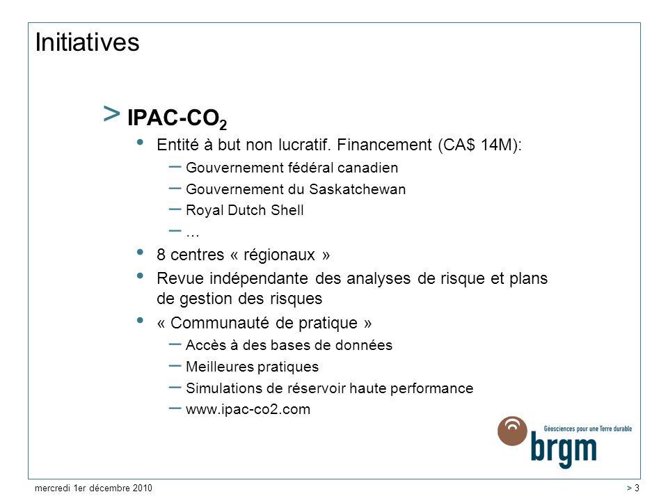Initiatives > IPAC-CO 2 Entité à but non lucratif. Financement (CA$ 14M): – Gouvernement fédéral canadien – Gouvernement du Saskatchewan – Royal Dutch