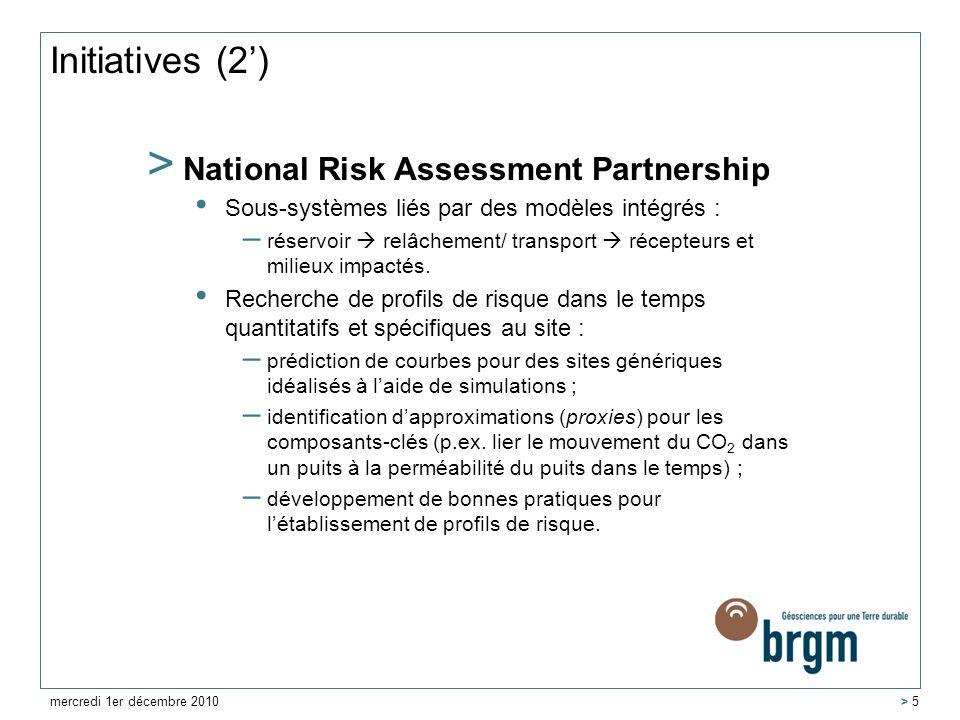 Initiatives (2) > National Risk Assessment Partnership Sous-systèmes liés par des modèles intégrés : – réservoir relâchement/ transport récepteurs et