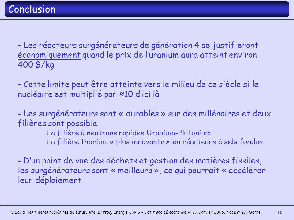 S.David, les filières nucléaires du futur, Atelier Prog. Energie CNRS – Gat « socioé économie », 20 Janvier 2005, Nogent sur Marne 18 - Les réacteurs