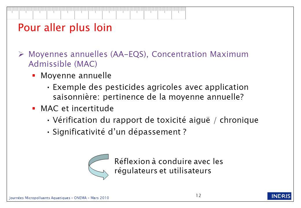 Journées Micropolluants Aquatiques – ONEMA – Mars 2010 12 Pour aller plus loin Moyennes annuelles (AA-EQS), Concentration Maximum Admissible (MAC) Moy