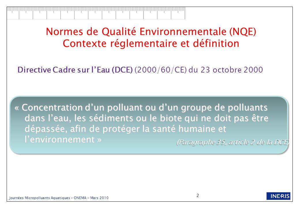 Journées Micropolluants Aquatiques – ONEMA – Mars 2010 2 Normes de Qualité Environnementale (NQE) Contexte réglementaire et définition Directive Cadre