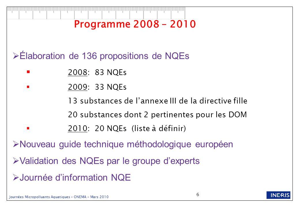 Journées Micropolluants Aquatiques – ONEMA – Mars 2010 6 Élaboration de 136 propositions de NQEs 2008: 83 NQEs 2009: 33 NQEs 13 substances de lannexe