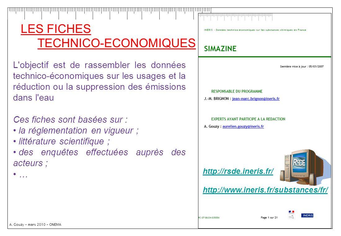 A. Gouzy – mars 2010 – ONEMA LES FICHES TECHNICO-ECONOMIQUES http://rsde.ineris.fr/ http://www.ineris.fr/substances/fr/ L'objectif est de rassembler l