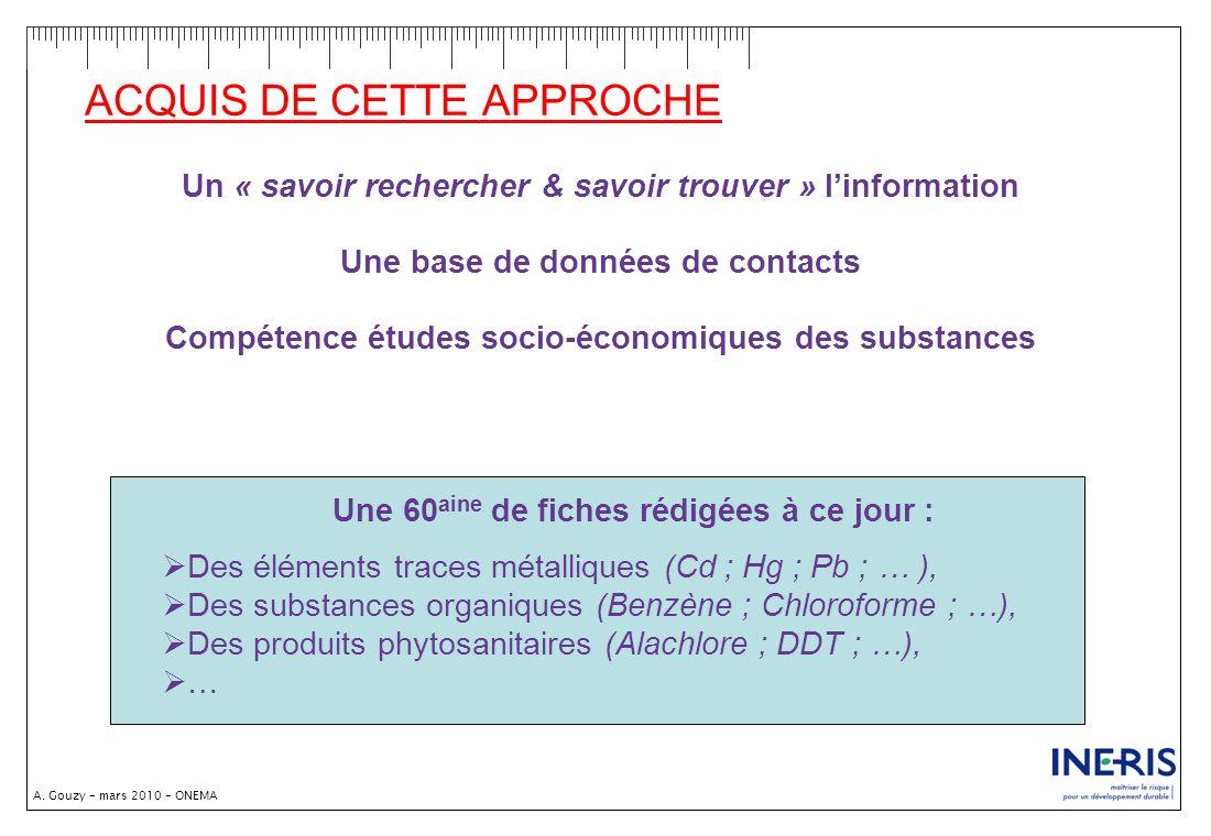 A. Gouzy – mars 2010 – ONEMA ACQUIS DE CETTE APPROCHE Un « savoir rechercher & savoir trouver » linformation Une base de données de contacts Compétenc