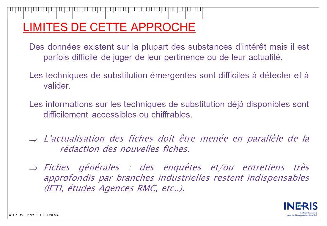A. Gouzy – mars 2010 – ONEMA LIMITES DE CETTE APPROCHE Des données existent sur la plupart des substances dintérêt mais il est parfois difficile de ju