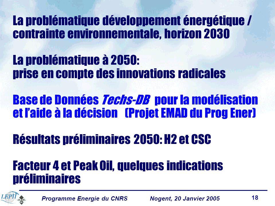 Programme Energie du CNRSNogent, 20 Janvier 2005 18 La problématique développement énergétique / contrainte environnementale, horizon 2030 La problématique à 2050: prise en compte des innovations radicales Base de Données Techs-DB pour la modélisation et laide à la décision (Projet EMAD du Prog Ener) Résultats préliminaires 2050: H2 et CSC Facteur 4 et Peak Oil, quelques indications préliminaires