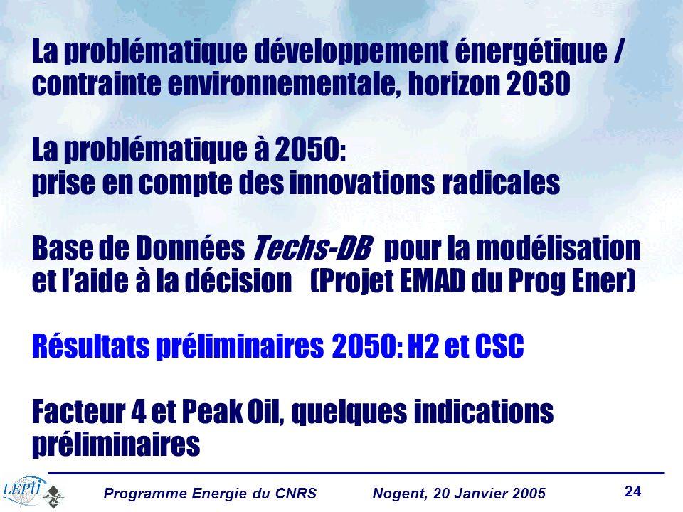Programme Energie du CNRSNogent, 20 Janvier 2005 24 La problématique développement énergétique / contrainte environnementale, horizon 2030 La problématique à 2050: prise en compte des innovations radicales Base de Données Techs-DB pour la modélisation et laide à la décision (Projet EMAD du Prog Ener) Résultats préliminaires 2050: H2 et CSC Facteur 4 et Peak Oil, quelques indications préliminaires
