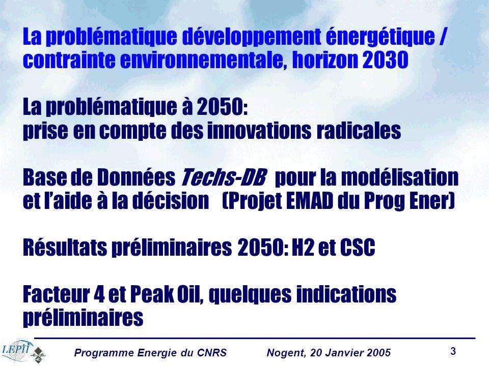 Programme Energie du CNRSNogent, 20 Janvier 2005 3 La problématique développement énergétique / contrainte environnementale, horizon 2030 La problématique à 2050: prise en compte des innovations radicales Base de Données Techs-DB pour la modélisation et laide à la décision (Projet EMAD du Prog Ener) Résultats préliminaires 2050: H2 et CSC Facteur 4 et Peak Oil, quelques indications préliminaires