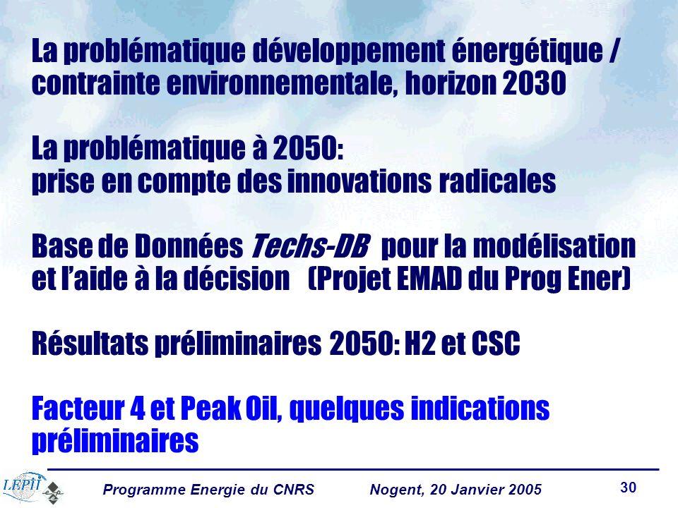 Programme Energie du CNRSNogent, 20 Janvier 2005 30 La problématique développement énergétique / contrainte environnementale, horizon 2030 La problématique à 2050: prise en compte des innovations radicales Base de Données Techs-DB pour la modélisation et laide à la décision (Projet EMAD du Prog Ener) Résultats préliminaires 2050: H2 et CSC Facteur 4 et Peak Oil, quelques indications préliminaires