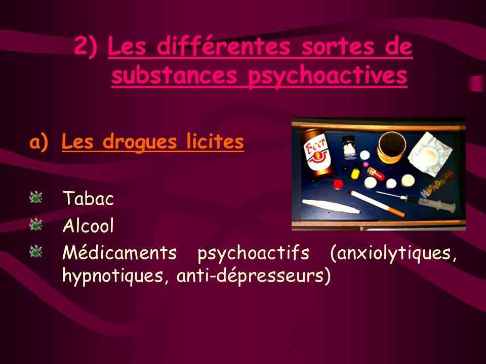 I Les substances psychoactives 1)Définition Les substances psychoactives ont une action sur le psychisme. Elles modifient lactivité mentale, les sensa