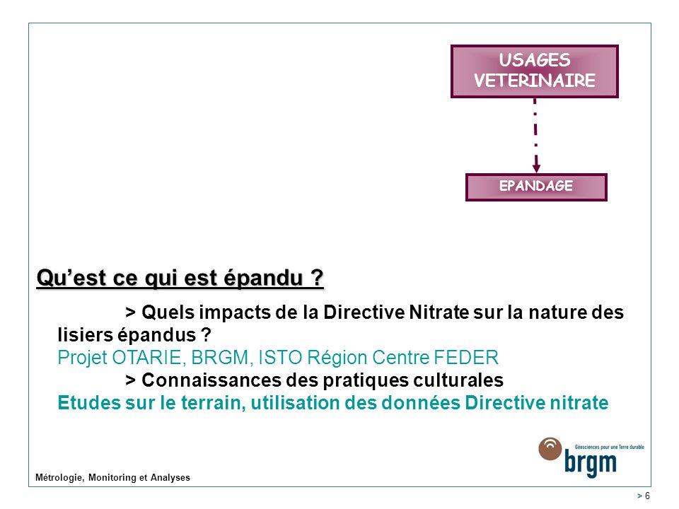 Métrologie, Monitoring et Analyses > 6 USAGES VETERINAIRE EPANDAGE Quest ce qui est épandu ? > Quels impacts de la Directive Nitrate sur la nature des