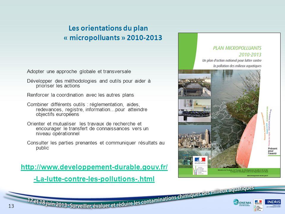 13 Les orientations du plan « micropolluants » 2010-2013 Adopter une approche globale et transversale Développer des méthodologies and outils pour aid