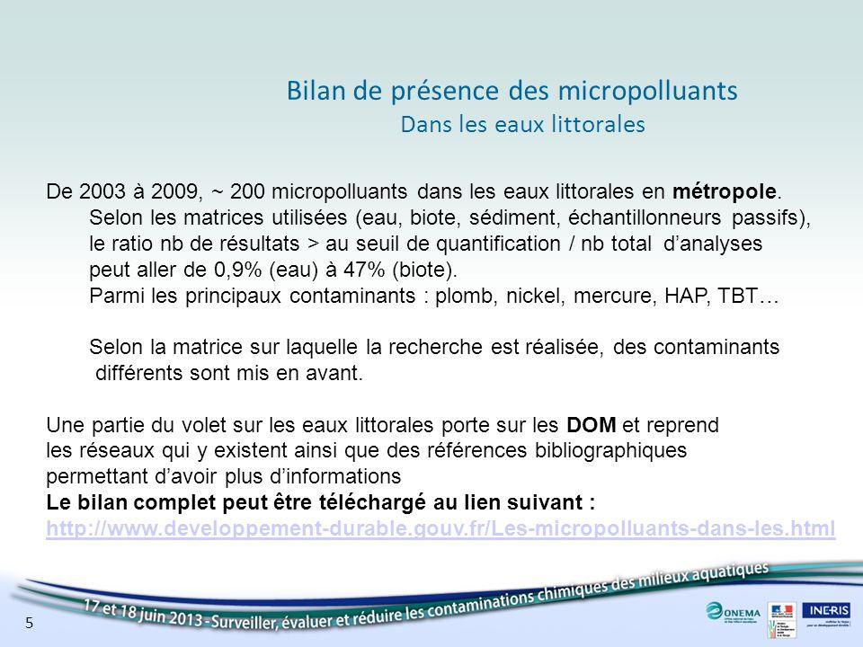 5 Bilan de présence des micropolluants Dans les eaux littorales De 2003 à 2009, ~ 200 micropolluants dans les eaux littorales en métropole. Selon les