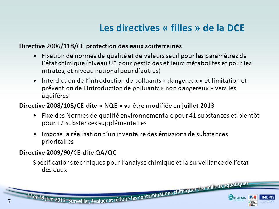 7 Les directives « filles » de la DCE Directive 2006/118/CE protection des eaux souterraines Fixation de normes de qualité et de valeurs seuil pour le