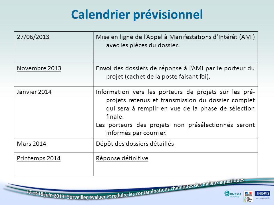 Calendrier prévisionnel 27/06/2013Mise en ligne de lAppel à Manifestations dIntérêt (AMI) avec les pièces du dossier.