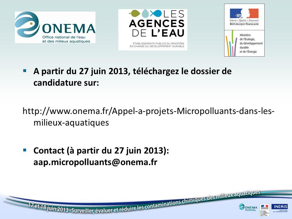 A partir du 27 juin 2013, téléchargez le dossier de candidature sur: http://www.onema.fr/Appel-a-projets-Micropolluants-dans-les- milieux-aquatiques Contact (à partir du 27 juin 2013): aap.micropolluants@onema.fr