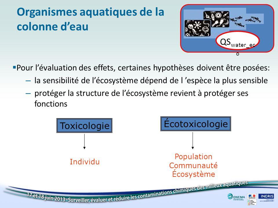 Méthode des facteurs dextrapolation (=facteur de sécurité) données deffets QS water_eco = facteur dextrapolation Méthodologie de détermination de la NQE Extrapolation… …de laigu au chronique …du laboratoire à lécosystème Incertitudes: variabilité au sein dune espèce et entre les espèces variabilité au sein dun laboratoire et entre les laboratoires Algues + Crustacé + Poisson Ecosystème aquatique simplifié