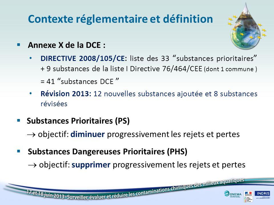 Contexte réglementaire et définition Normes de Qualité Environementale (NQE) – Arrêté ministériel du 8 juillet 2010 pour les substances prioritaires définies au niveau européen – Arrêté ministériel du 25 janvier 2010 pour les polluants spécifiques de l état écologique – Révision en cours Valeurs Guides Environementale – Valeurs déterminées selon la même méthodologie, mais sans portée réglementaire