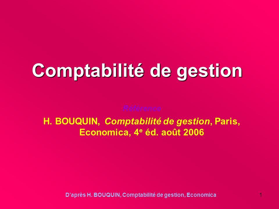 Daprès H. BOUQUIN, Comptabilité de gestion, Economica1 Comptabilité de gestion Référence H. BOUQUIN, Comptabilité de gestion, Paris, Economica, 4 e éd