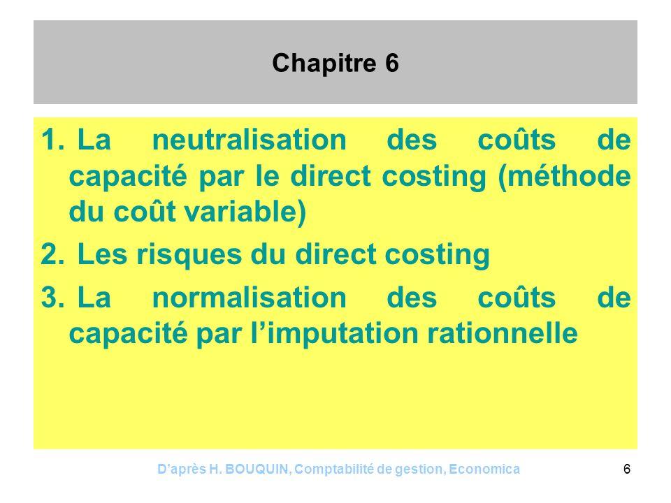 Daprès H. BOUQUIN, Comptabilité de gestion, Economica6 Chapitre 6 1. La neutralisation des coûts de capacité par le direct costing (méthode du coût va